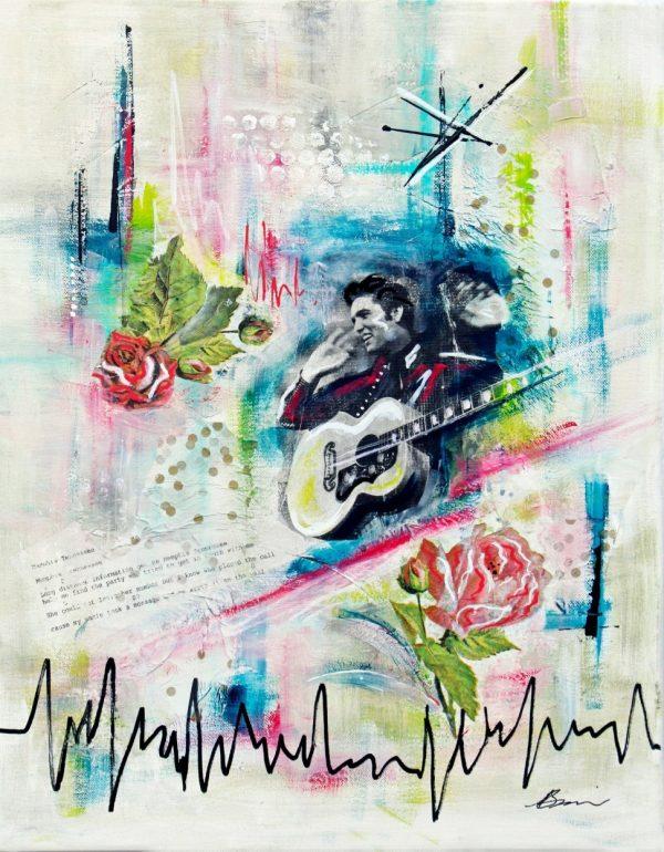 Elvis mixed media collage