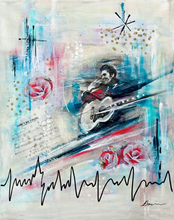 Elvis abstract mixed media artwork, Angela Bisson